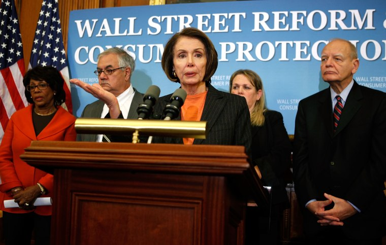 Pelosi And House Democrats Hold News Conference On Financial Reform Act
