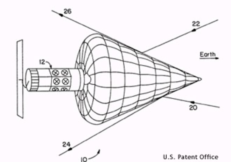 This drawing, included in a patent application, shows how an inflatable space shield could help a satellite evade detection. Observers believe the satellite known as Misty may have used such a shield.