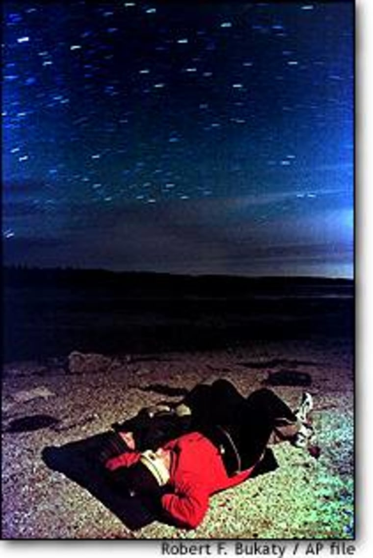 Rick Feeney and Ewa Tomecka watch 1999's Leonid meteor shower from the shore of Maquoit Bay in Maine.