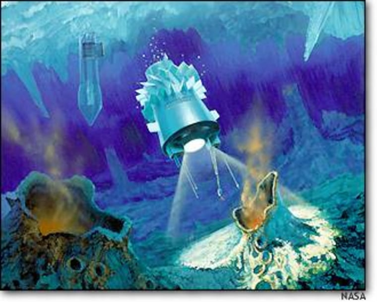This artist's conception shows an ice-penetrating cryobot and a submersible hydrobot that could be used to explore a hidden body of Antarctic water known as Lake Vostok as well as what appears to be an ice-covered ocean on Europa, a moon of Jupiter.