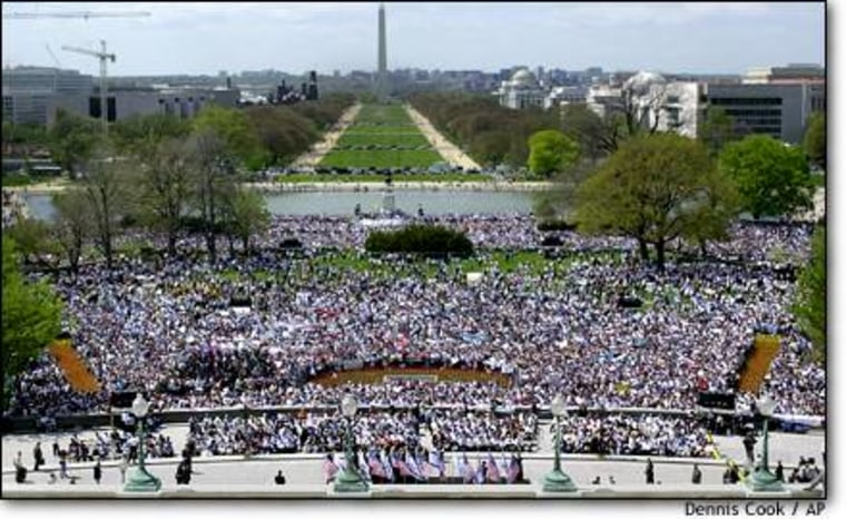 Crowds gather in support of Israel on the west front of the Capitol on April 15. The photo was taken at 2:30 p.m., the peak of the rally, according to organizers.
