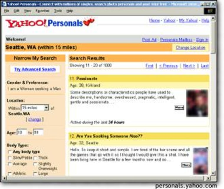 Yahoo's is among the more than 30 Web sites devoted to personals. A recent Jupiter Research study said that more than 34 million people have visited online personals and the average user spends 13 hours a month on the sites.
