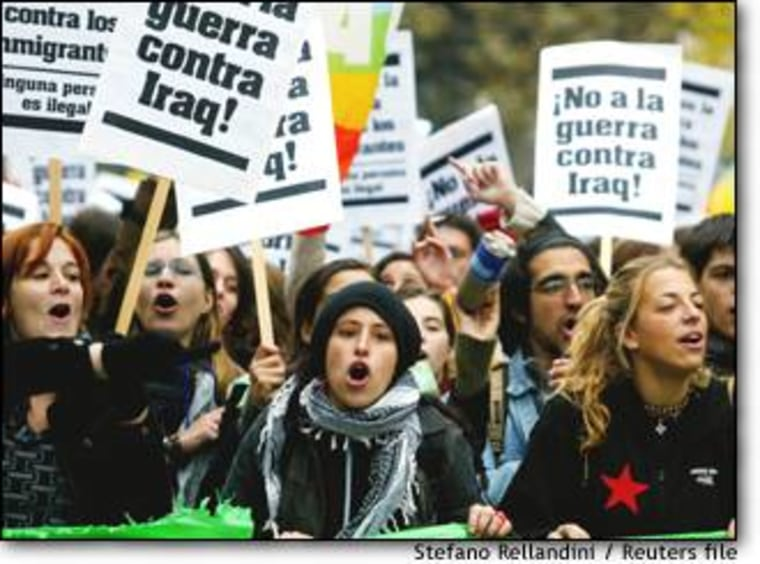 Tens of thousands of European demonstrators turned out in Florence to protest a possible U.S.-led war against Iraq on Nov. 9.