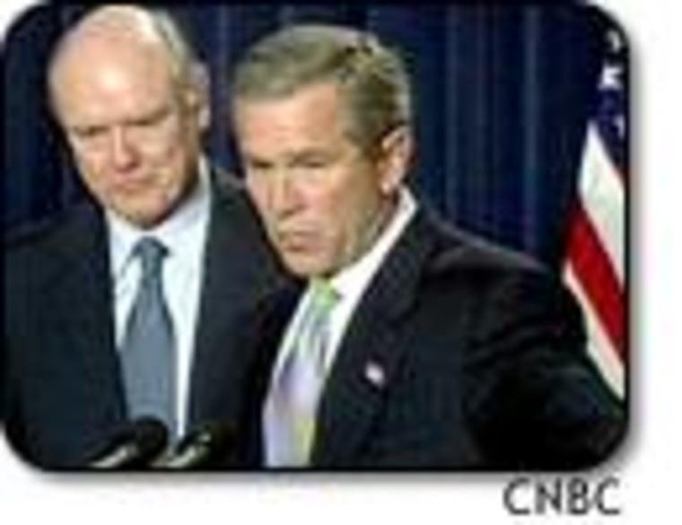 President Bush introduces John Snow as his nominee for Treasury secretary, replacing Paul O'Neill, who resigned last week.