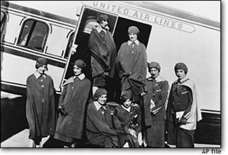 Airline stewardesses pose in front of a United Air Lines' Boeing transport in San Francisco in this May 15, 1930 file photo.
