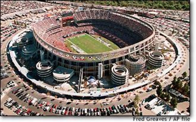 This is a view of San Diego's Qualcomm Stadium you won't be seeing during Sunday's Super Bowl telecast, as all blimps and other camera-equipped aircraft will be banned for security reasons.