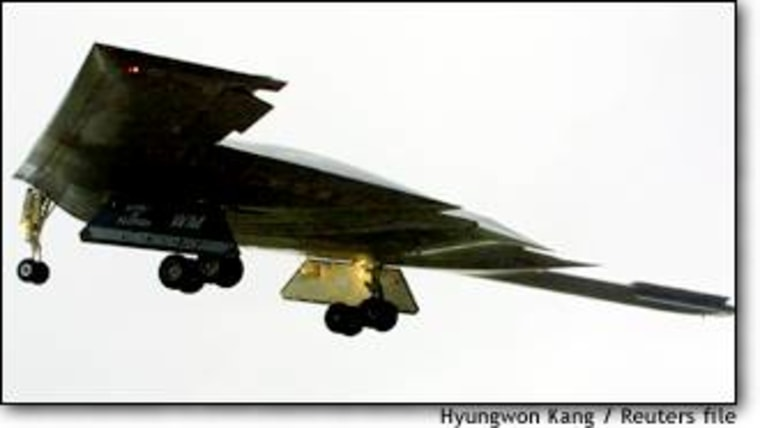 The B-2 Spirit stealth bomber takes off from Whiteman Air Force Base in Missouri en route to Afghanistan.