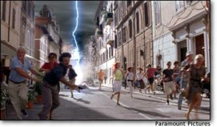 """Bolts of super-lightning zap city streets in a scene from """"The Core."""" In reality, the effects of a disruption in Earth's magnetic field wouldn't be that severe, most scientists say. But questions remain."""