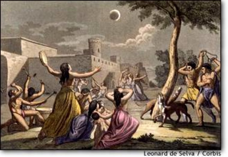 This print is said to depict Indians responding to a lunar eclipse. In 1504, Christopher Columbus predicted a lunar eclipse to impress the natives in Jamaica. Click on the image for more on the Columbus story.