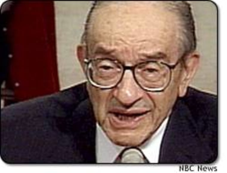"""""""The economy continues to be buffeted by strong crosscurrents,"""" Federal Reserve Chairman Alan Greenspan told a Congressional panel Wednesday."""