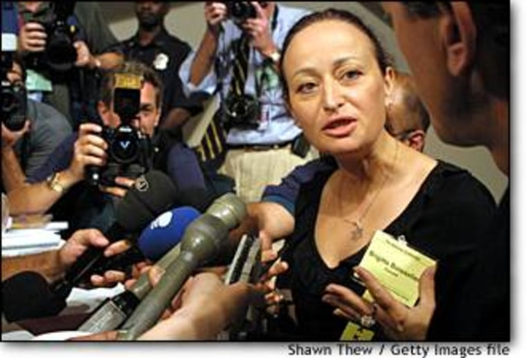 Brigitte Boisselier, director of Clonaid, speaks to reporters Aug. 7, 2001 in Washington. Boisselier claims that in December 2002 her company created the first human clone. The claim has since been widely disregarded by scientists as a publicity stunt.
