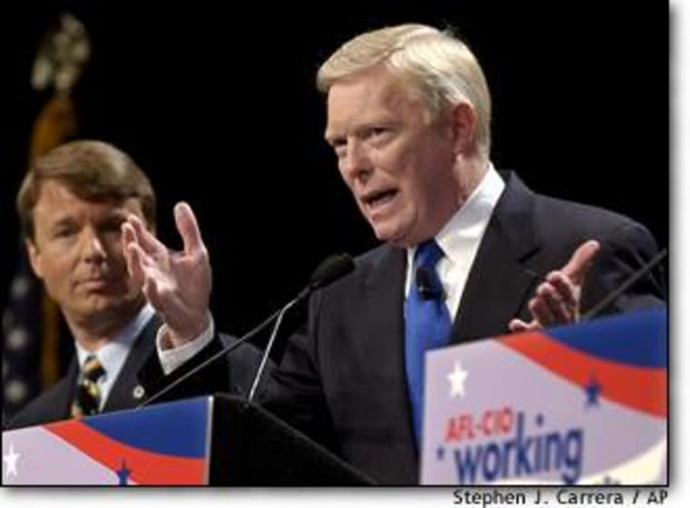 Rep. Dick Gephardt of Missouri, right, answers questions at the AFL-CIO presidential forum as Sen. John Edwards of North Carolina listens.