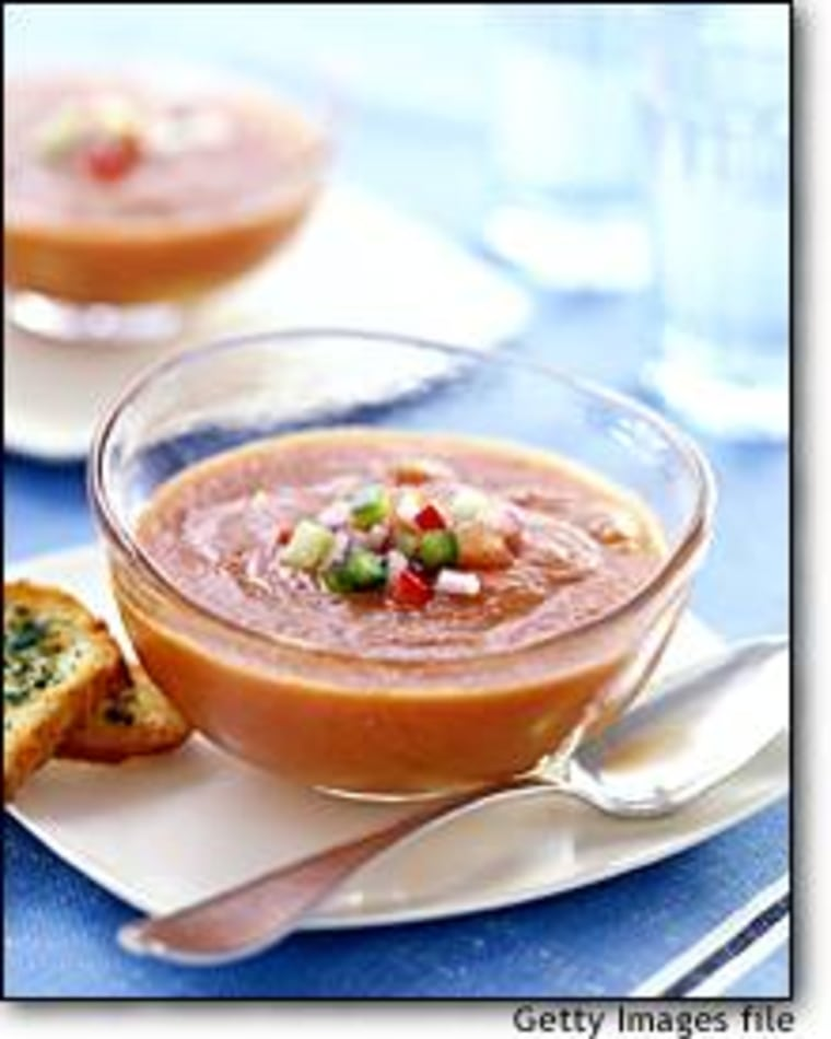Gazpacho and other chilled soups are a tasty way to boost your intake of veggies and fruits.