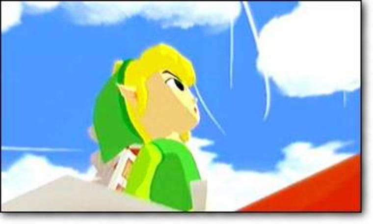 "Link, hero of ""The Legend of Zelda: The Wind Walker,"" gazes at the heavens."