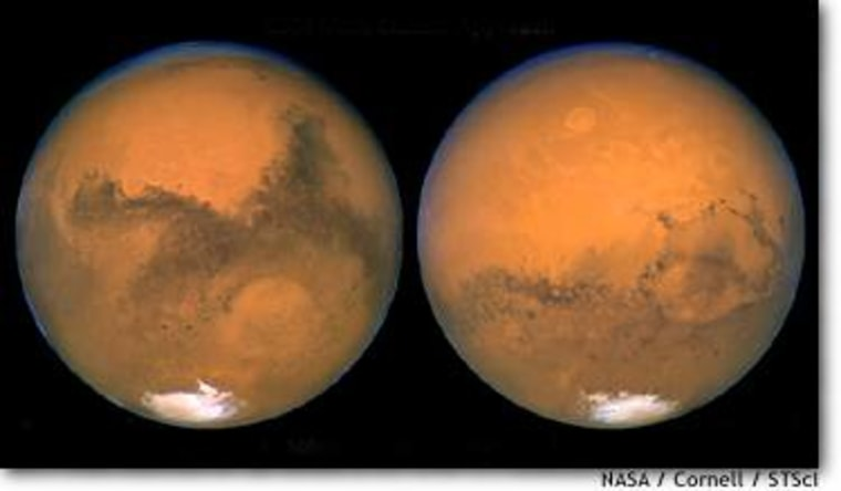 The left view of Mars shows the south polar cap and Hellas Basin. The dark areas are called Sinus Meridiani and Syrtis Major. The right viewshows Valles Marineris stretching across the middle.