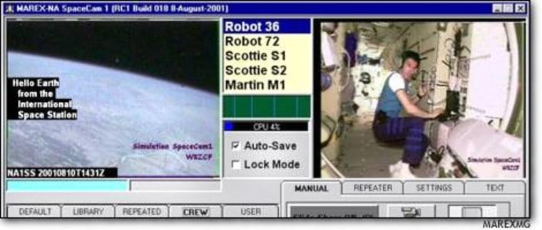 This simulated screenshot of the SpaceCam1 computerized image display shows real images from the international space station, including cosmonaut Sergei Krikalev at the ham-radio controls.