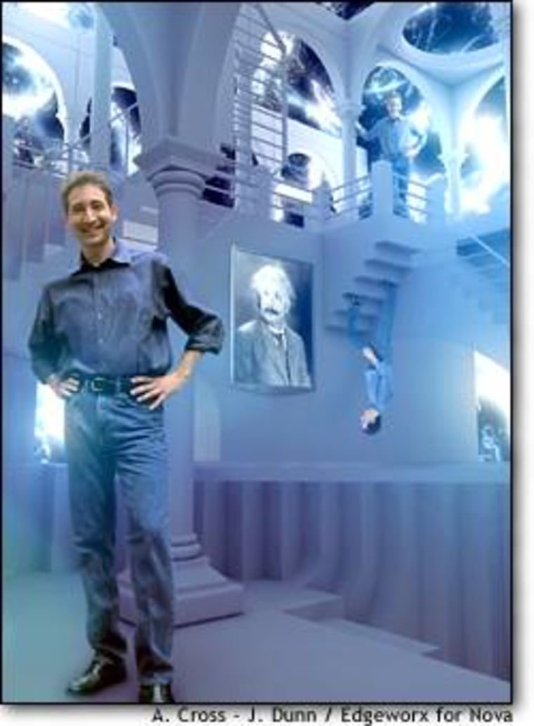 """Physicist Brian Greene, host of """"The Elegant Universe,"""" walks a multiplicity of staircases in a scene inspired by artist M.C. Escher. The TV series draws heavily on computer animation and green-screen video imagery."""