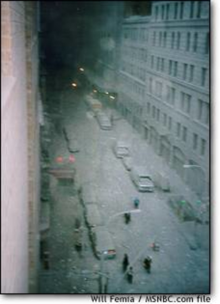 The view north on Greenwich Street to where the World Trade Center had stood minutes earlier on Sept. 11, 2001.