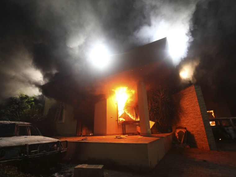 The U.S. Consulate in Benghazi in flames, September 11, 2012.