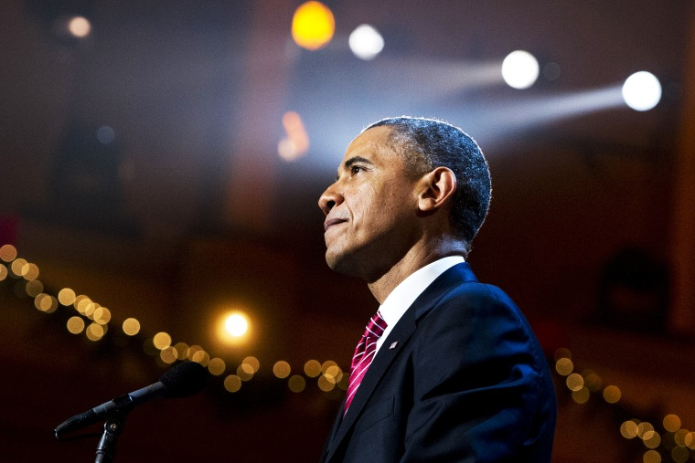 US President Barack Obama speaks during a taping of TNT's Christmas in Washington, Dec. 15, 2013.