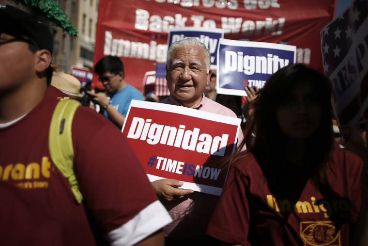 Protesters march to demand immigration reform in Hollywood, Los Angeles, Calif., Oct. 5, 2013.