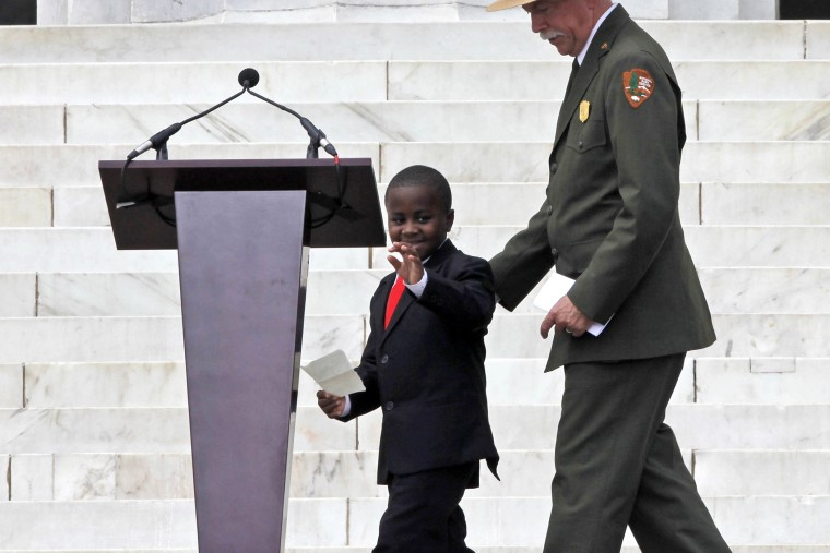 Robby Novak, also known as Kid President, takes the stage for the 50th Anniversary of the March on Washington, Aug. 28, 2013, in front of the Lincoln Memorial in Washington.