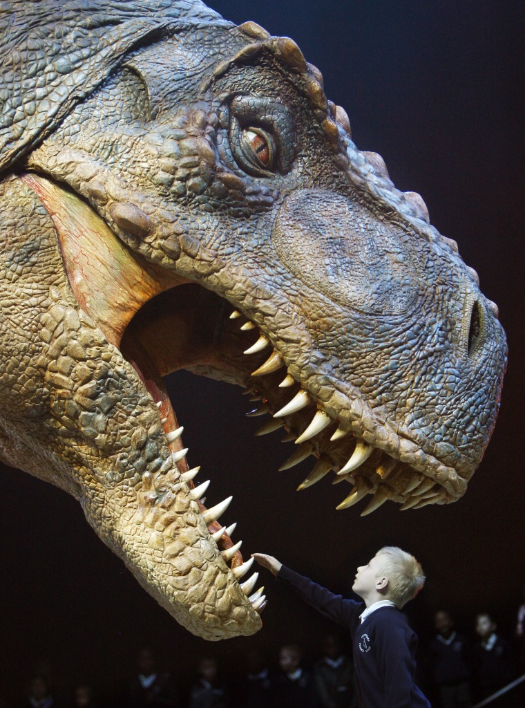 """Eight-year-old Jack Osbourne reaches out to touch the teeth of a moving life-size Tyrannosaurus Rex dinosaur during a press launch of \""""Walking with Dinosaurs\"""" at the O2 Arena in London on March 18, 2009."""