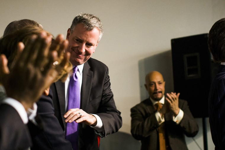 Mayor elect Bill de Blasio attends an event at the National Action Network in Harlem, Dec. 7, 2013.