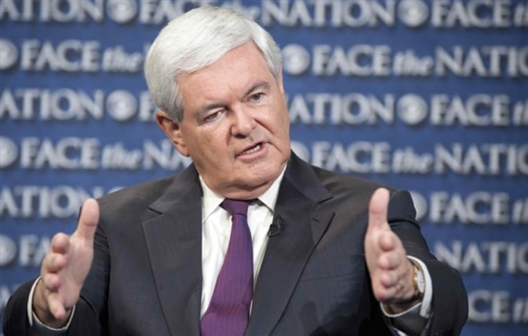 "Former House Speaker Newt Gingrich talks on CBS's ""Face The Nation"" in Washington. (Photo by Chris Usher / AP)"