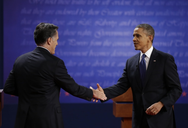 President Barack Obama, right, shakes hands with Republican presidential nominee Mitt Romney after the first presidential debate at the University of Denver, Wednesday, Oct. 3, 2012, in Denver. (AP Photo/David Goldman)