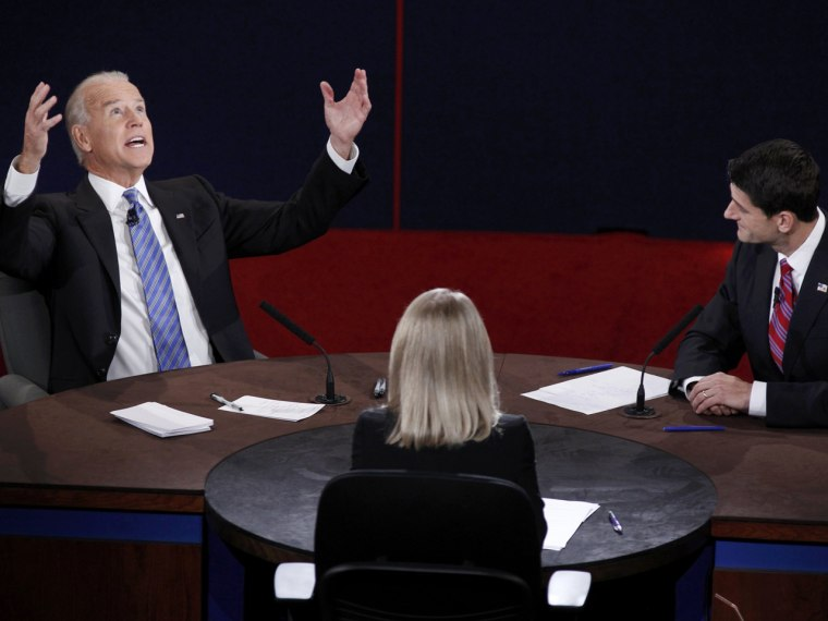 Vice President Biden makes a point in front of Rep. Paul Ryan at the vice presidential debate on Thursday, Oct. 11 (Photo: Reuters/Jeff Haynes)