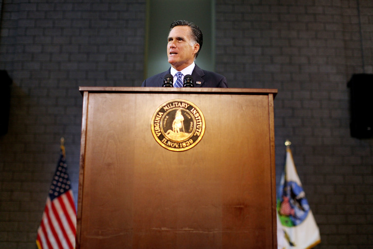 Republican presidential candidate, former Massachusetts Gov. Mitt Romney delivers a foreign policy speech at the Virginia Military Institute. (Evan Vucci/AP Photo)