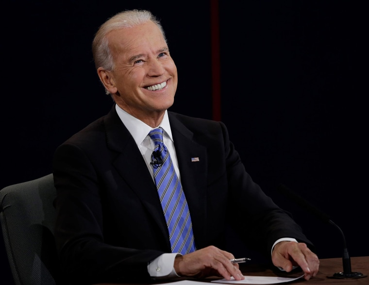 Vice President Joe Biden reacts to a question during the vice presidential debate. (Photo: Charlie Neibergall/AP)