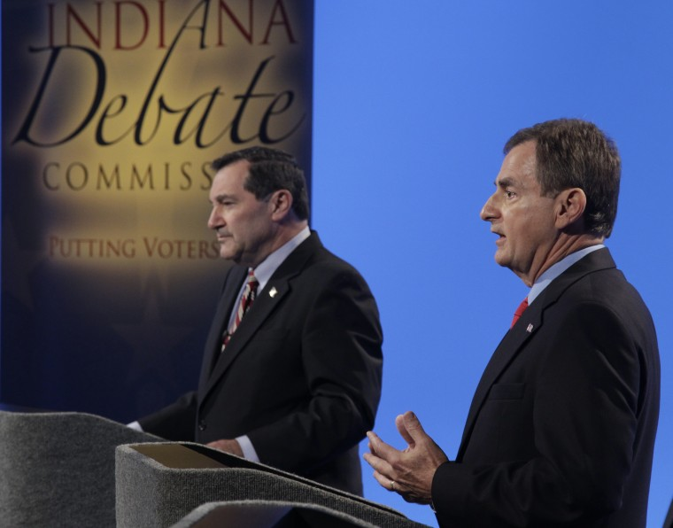 Candidates for Indiana's U.S. Senate seat Democrat Joe Donnelly, left, and Republican Richard, Mourdock participate in a debate in Indianapolis, Monday, Oct. 15, 2012 (Photo: AP/Michael Conroy)
