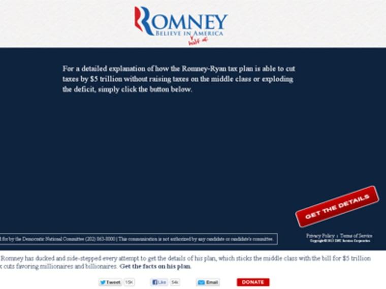 Homepage of RomneyTaxPlan.com