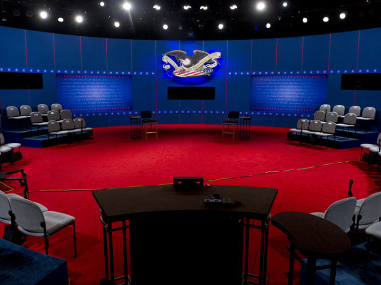 The stage is set prior for the second presidential debate Tuesday at the David Mack Center at Hofstra University in Hempstead, New York. (Saul Loeb/AFP Photo)