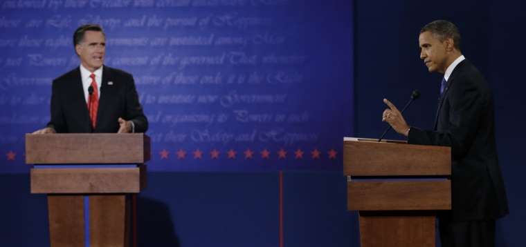 The first presidential debate at the University of Denver on Oct. 3, 2012. (Photo: AP/Eric Gay)
