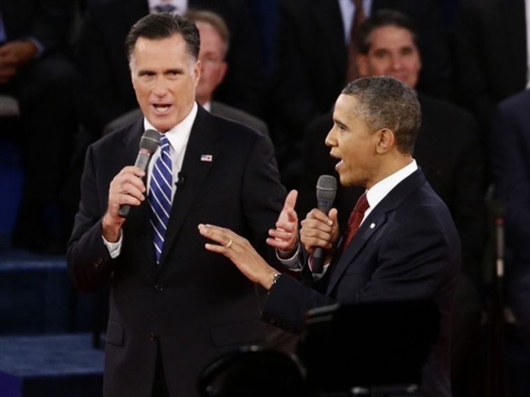 President Barack Obama and Republican presidential candidate and former Massachusetts Gov. Mitt Romney participate in the second presidential debate at Hofstra University in Hempstead, N.Y. (Photo: Charles Dharapak / AP)