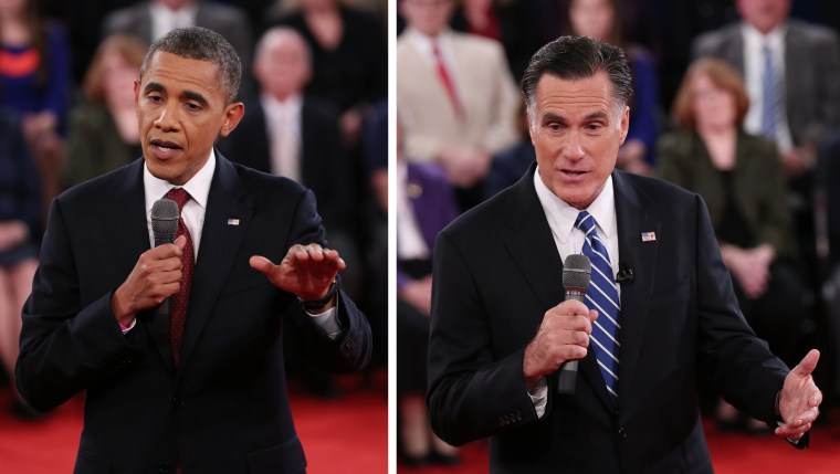 In a photo combo, President Barack Obama, left, and Republican presidential nominee Mitt Romney address the audience during the second presidential debate at Hofstra University, Tuesday, Oct. 16, 2012, in Hempstead, N.Y. (Photo: AP Photo/Pool-Shannon...