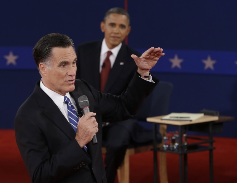 Republican presidential nominee Mitt Romney speaks during the second presidential debate at Hofstra University, Tuesday, Oct. 16, 2012, in Hempstead, N.Y. (Photo: AP/Eric Gay)