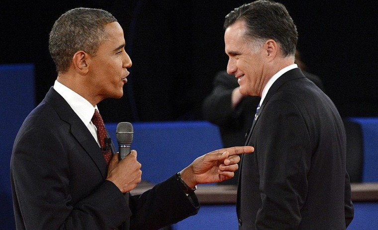 President Barack Obama and Republican presidential candidate Mitt Romney at the second presidential debate on Oct. 16 at Hofstra University in Hempstead, N.Y. (Photo: Michael Reynolds/AFP/Getty Images)