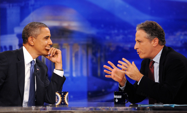 """Jon Stewart talks with Barack Obama on Comedy Central's \""""Indecision 2010\"""" on October 27, 2010 in Washington, DC. (Photo: AP/Olivier Douliery/Picture Group.)"""