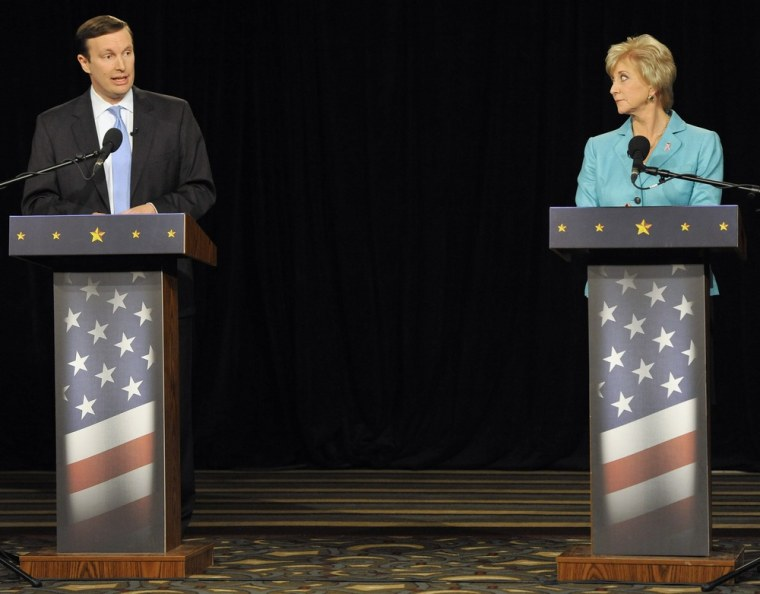 U.S. Rep. Chris Murphy, D-Conn., left, beat Republican Linda McMahon right, for Senate in Connecticut on Tuesday night. The two are pictured above during a debate in Hartford, Conn. in October. (AP)