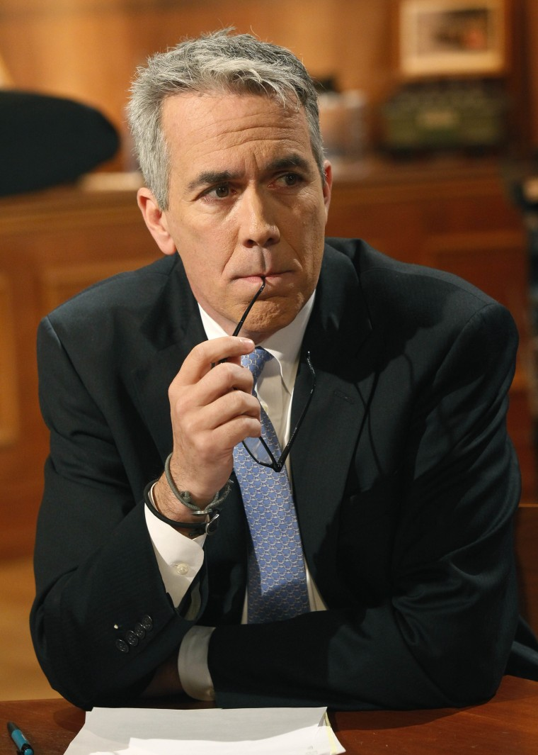 U.S. Rep. Joe Walsh, R-Ill., waits for the start of a televised debate against challenger Democrat Tammy Duckworth at the WTTW studios Thursday, Oct. 18, 2012, in Chicago. (AP Photo/Charles Rex Arbogast)