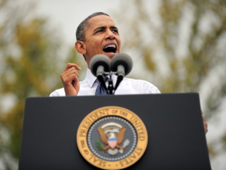 President Obama speaking at a campaign rally Friday in Fairfax, Virginia. (Jewel Samad/Getty Images)