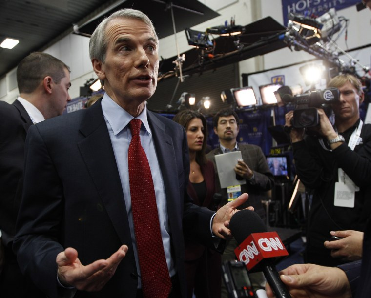 Sen. Rob Portman, R-Ohio, speaks to reporters in the spin room after the second presidential debate at Hofstra University, Tuesday, Oct. 16, 2012 Hempstead, N.Y. (Photo  by Mary Altaffer/AP Photo, File)