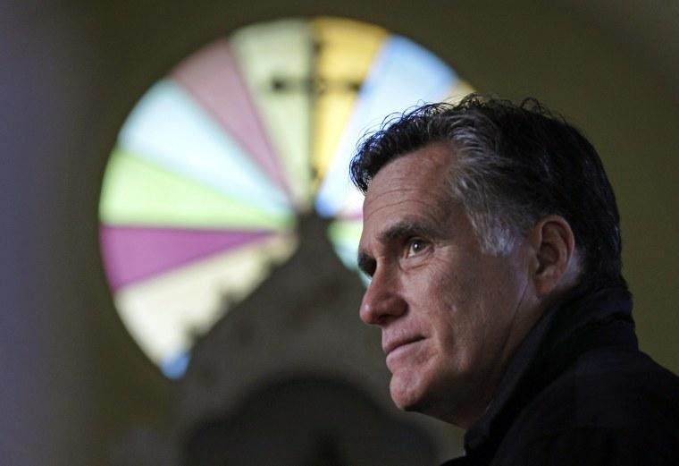 Thursday Dec. 22, 2011 Mitt Romney, visits St. Paul's Lutheran Church in Berlin, N.H. (AP Photo/Charles Krupa)