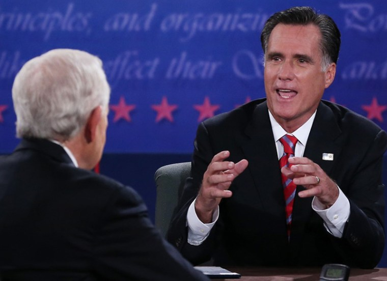 Republican presidential candidate Mitt Romney speaks during the debate as moderator Bob Schieffer listens at Lynn University, Oct. 22, in Boca Raton, Fla. (Photo: Marc Serota/Getty Images)