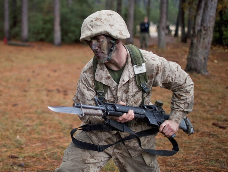 A U.S. Marine Corps recruit receives bayonet instruction at the Marine Corps Recruit Depot on Parris Island, S.C. in January 2011. (Photo: Robert Nickelsberg/Getty Images)