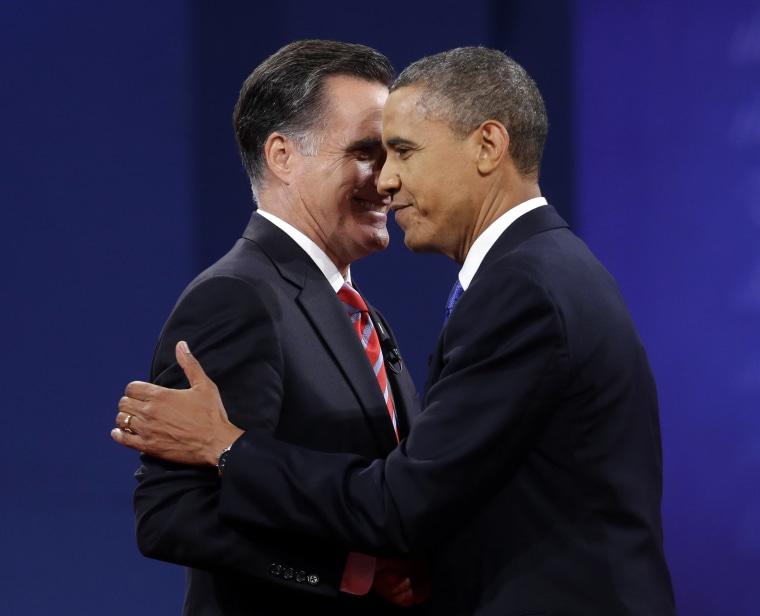 Republican presidential candidate, former Massachusetts Gov. Mitt Romney and President Barack Obama shake hands at the end of the last debate at Lynn University, Monday, Oct. 22, 2012, in Boca Raton, Fla. (AP Photo/Pablo Martinez Monsivais)